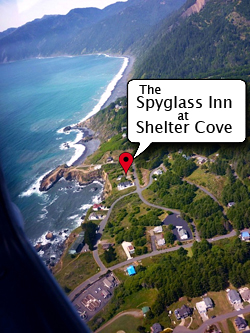 aerial view of Shelter Cove