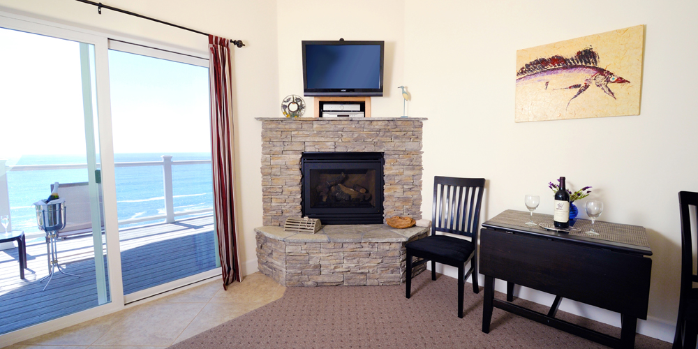 Incredible views from the living room, gas fireplace, satellite HDTV