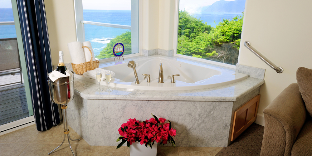 The Spyglass suite features a luxurious in-room jacuzzi tub.